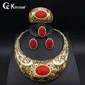 Exaggerate joyería de la Manera fijaron Dubai chapado en oro de joyería del grano de la joyería de la boda Africana de Nigeria beads africanos sistemas de la joyería