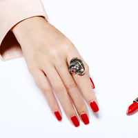 New Arrival black and gold-color two tone rings for Ladies High Quality Red color Stone Women Cocktail Jewelry aneis feminino