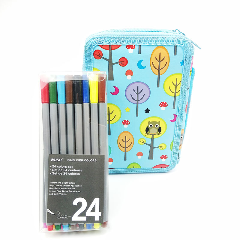 24 Colors Fine Liner Pen+35 Holes Pencil Bags Micron Sketch Marker Color 0.4mm for Manga Art School Needle Drawing Marker Comics touchnew 60 colors artist dual head sketch markers for manga marker school drawing marker pen design supplies 5type