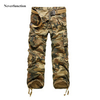 Men's Camouflage Casual Multi Pocket Overalls Cargo Pants for Mens Military Tactical Straight High Quality Cargo Long Trousers