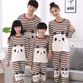 2016 New  Fall Winter Womens Pajama Sets Cartoon Couple Pajamas Set Striped Women Sleepwear Men Lady Family Fitted Home Clothing