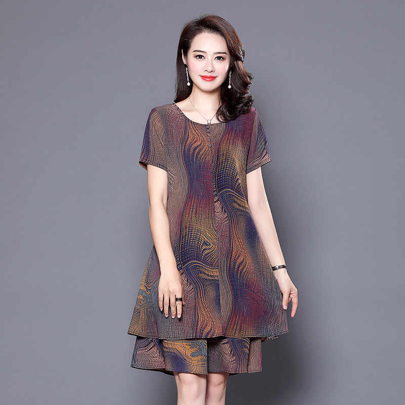 036f1a87db3 Mother s Summer Chiffon Dress 40-50 Years Old Middle-aged Women s Large Size  Short