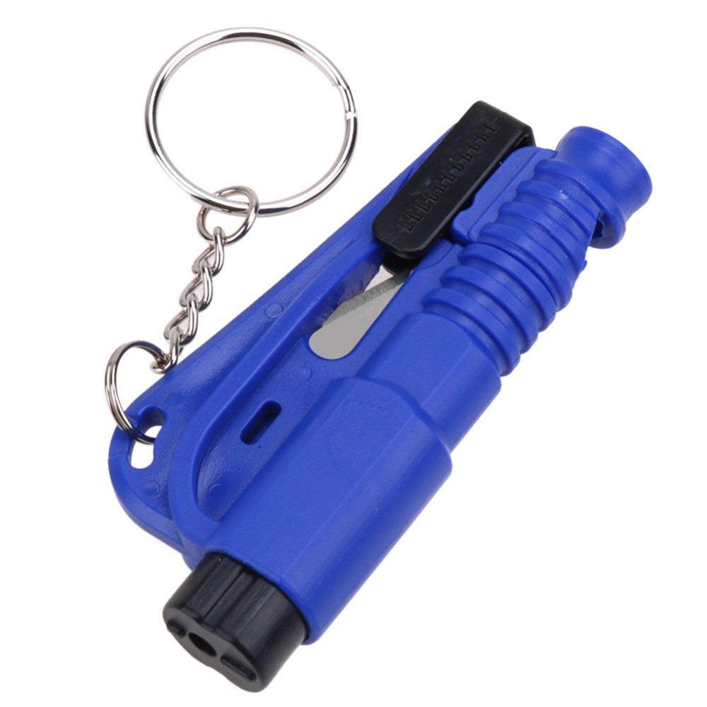 Car Keychain with Glass Window Breaking Hammer Emergency Escape Rescue Tool & Seat Belt Knife Cutter 3