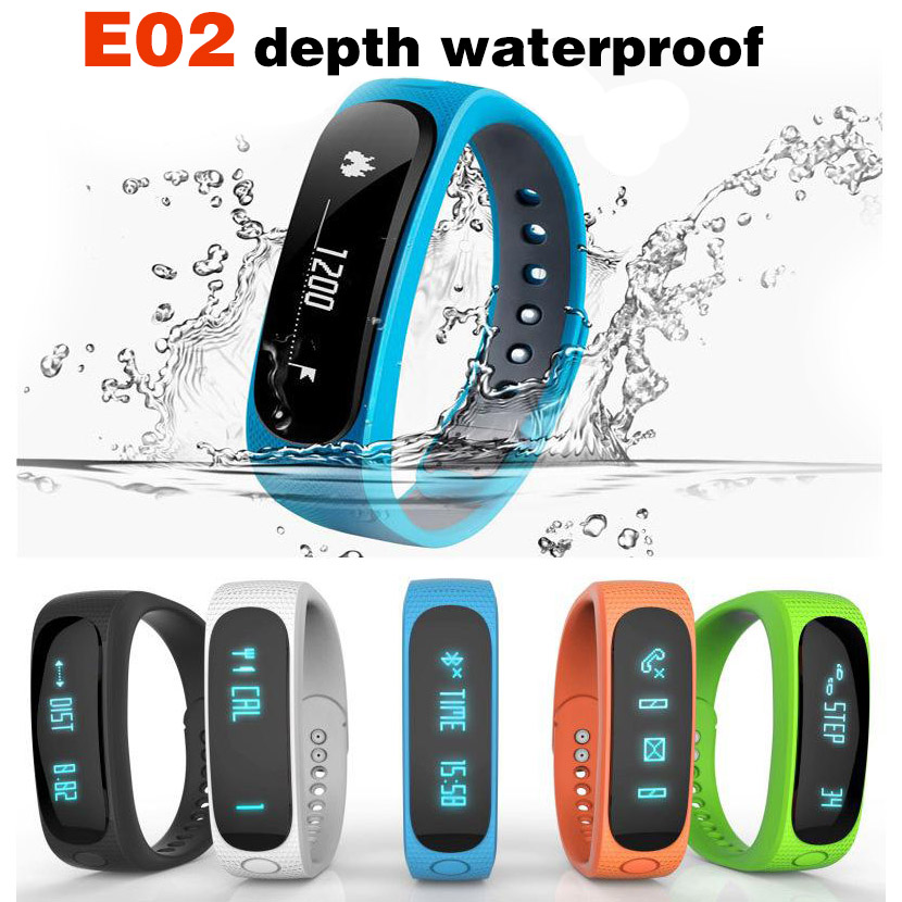 E02 <font><b>Bluetooth</b></font> Smart Bracelet Waterproof Long Standby Sports Alarm S2 Wristband SmartBand For Android <font><b>IOS</b></font> DZ09 A1 Z60 Smartwach