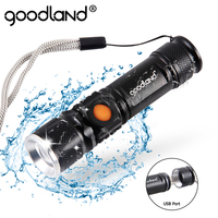 Linterna LED USB de alta potencia, linterna recargable de 2000 lúmenes, Q5, XML, T6, 3 modos con zoom, 16340, 18650