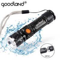 Usb lanterna led de alta potência recarregável tocha 2000 lumens q5 xml t6 3-modos zoomable 16340 18650 flash luz lanterna