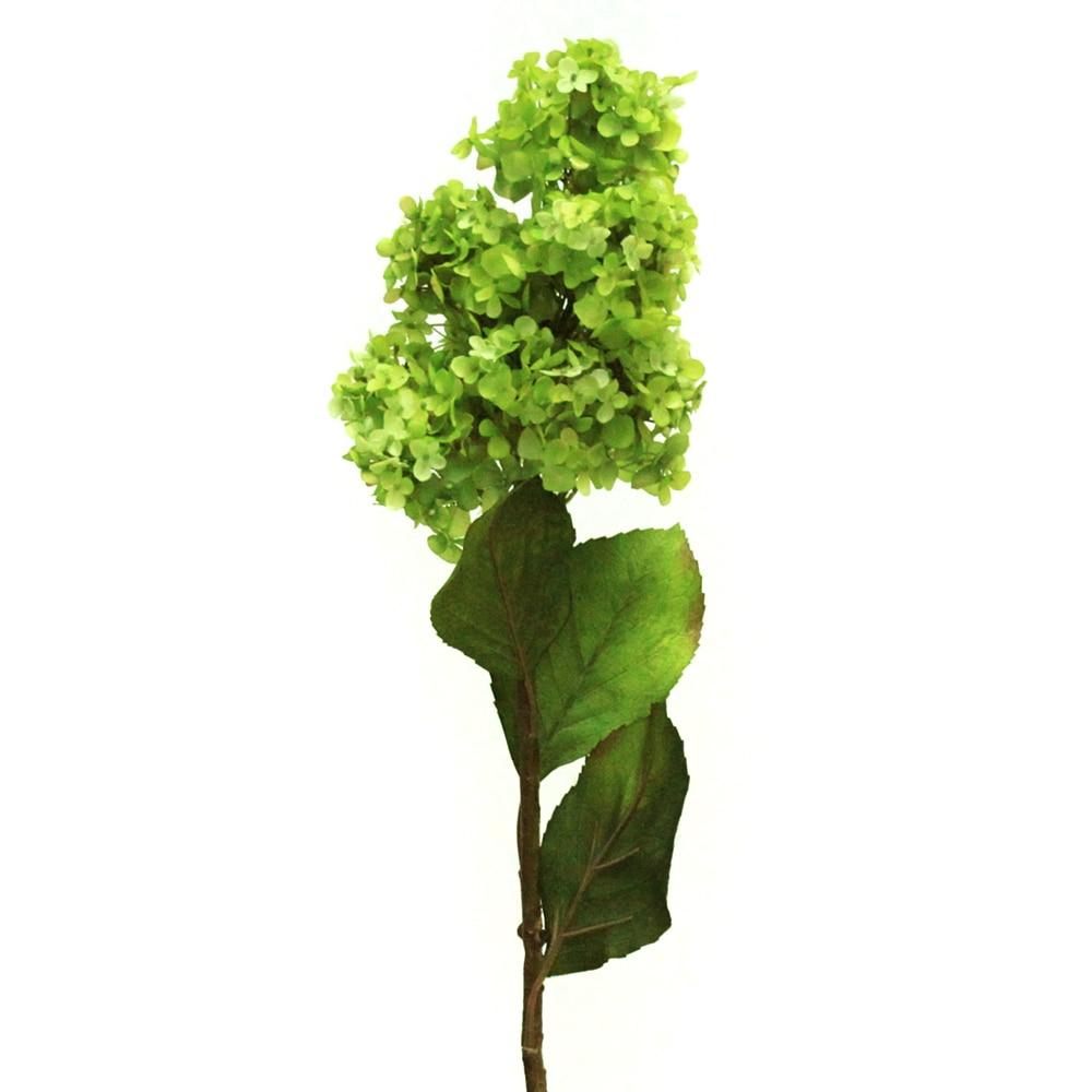 44 Artificial Cone Hydrangea Silk Flower Single Stem In Green