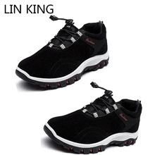 LIN KING Fashion Men Work Safety Boots Casual Ankle Short Thick Sole Wedges Botas Outdoor Anti Skid Hiking Shoes