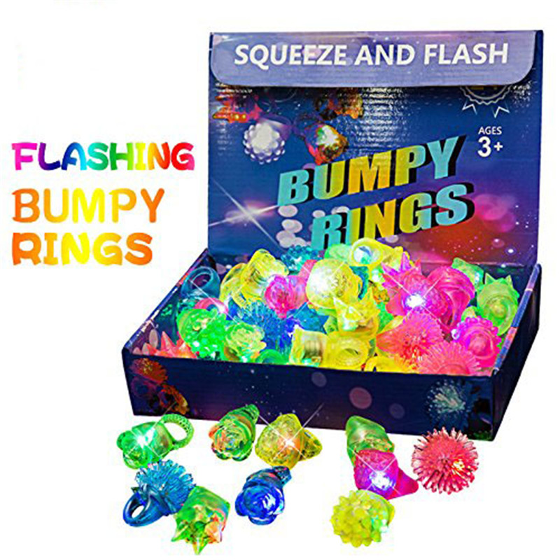 30pcs A Pack Flashing Light Up Bumpy Ring Toys LED Finger Lights 24 Pack Party Favor Blinking Jelly Rubber Rings