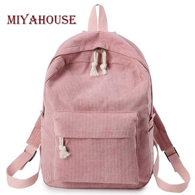 8905449182ce Miyahouse Trendy School Backpack Bags For Girls Corduroy Bookbags Female  Kawaii Bolsa Escolar Harajuku Travel Rucksacks