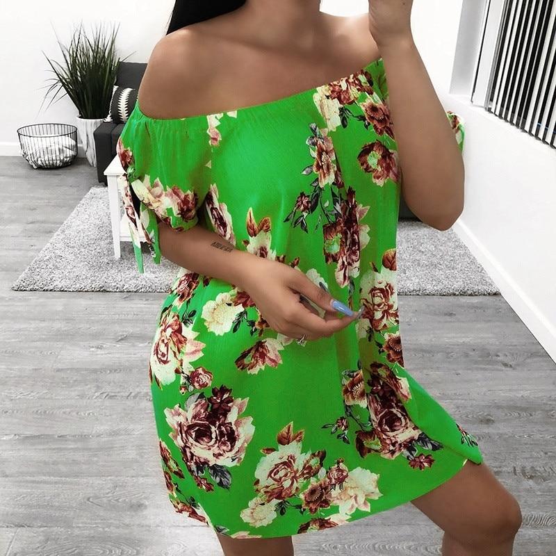 HTB1YOu9PhjaK1RjSZFAq6zdLFXaq Off Shoulder dress women summer nature Summer Dress Casual Lady Bohemia Floral Printed dress summer 2019 beach sukienka 45#G7