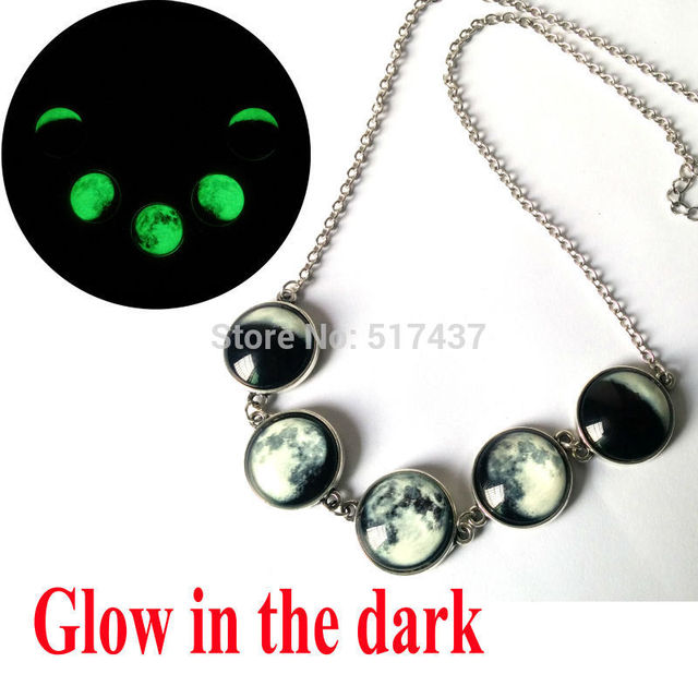 Glowing Jewelry Galaxy Moon Necklace Full Moon To The Past  Glass Art Photo Jewelry Glow In The Dark Necklace Full Moon necklace