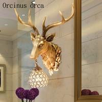 Lámpara de pared creativa retro americana astas sala de estar pasillo lámpara cabeza de ciervo lámpara de pared