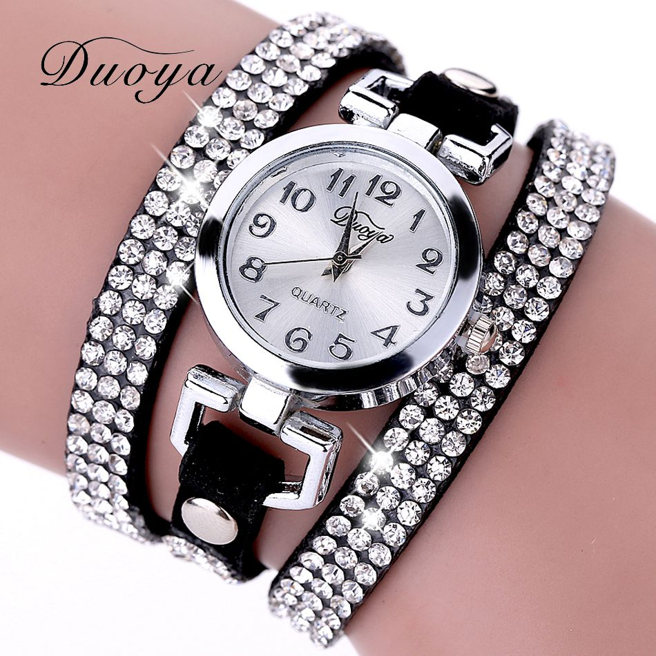 2017 New Luxury Watch Women Crystal Rhinestone Leather Bracelet Wristwatches Women Dress Vintage Clock Lady Quartz Watch XR689 vintage faux leather layered rhinestone bracelet for women