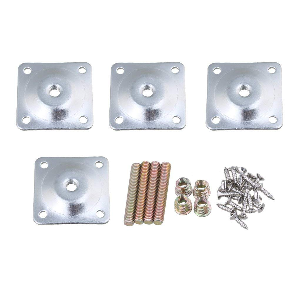 4Pcs Iron 48x48mm Soft Table Chair Feet Attachment Plates Silver Color Furniture Leg Mounting Plates With Hanger Bolts Adapters