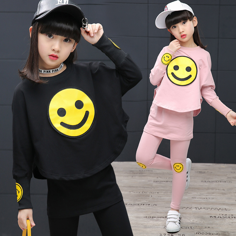 2018 Spring Korean Style Long Sleeve Emoji Print T-shirt + Leggings Outfits Kids Girls Clothing Sets Vetement Enfant Fille 13 14 fashion slim girls clothing sets long sleeve plaid sweater two piece skirt suits cotton kids wear vetement fille split hem