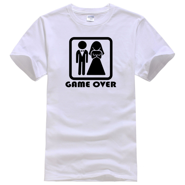 b377d0dae Husband Gift Game Over Wife Friend Fathers days Wedding Bride Groom Tee  Shirt Unisex women men short sleeve funny shirt 6 size
