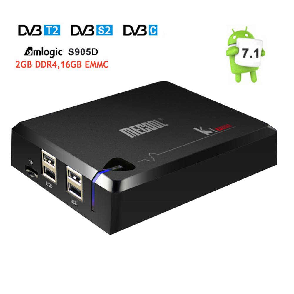DVB S2+DVB T2/C MECOOL KI Pro Android 7.1 TV Box Amlogic S905D Quad core DDR4 2GB 16GB 2.4G/5G WiFi H.265 HD UHD 4K Media Player mecool ki plus dvb s2 t2 combo smart android tv box amlogic s905 quad core 1g 8g 1080p 4k 2 4g wifi cccamd newcamd