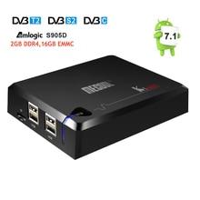 DVB S2 + DVB T2/C MECOOL KI Pro Android 7.1 TV Box Amlogic S905D Quad core DDR4 2 GB 16 GB 2.4G/5G WiFi H.265 HD UHD 4 K Medios jugador