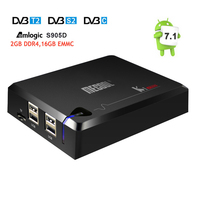 DVB S2 + DVB T2/C MECOOL S905D KI Pro Android 7.1 Caixa De TV Amlogic Quad core DDR4 2 GB 16 GB 2.4G/5G WiFi H.265 HD UHD 4 K Mídia jogador