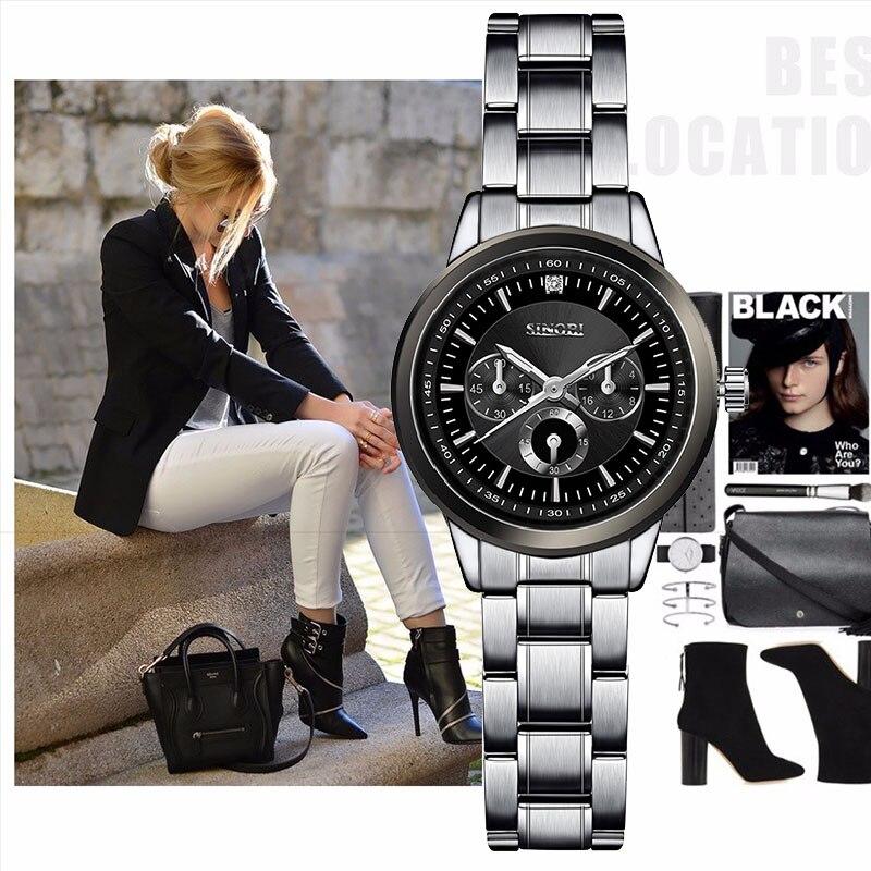 SINOBI Women Fashion Steel Wrist Watches Luxury Brand Females Geneva Quartz Clock Ladies Wristwatches Relojes Mujer 2018 Saatler