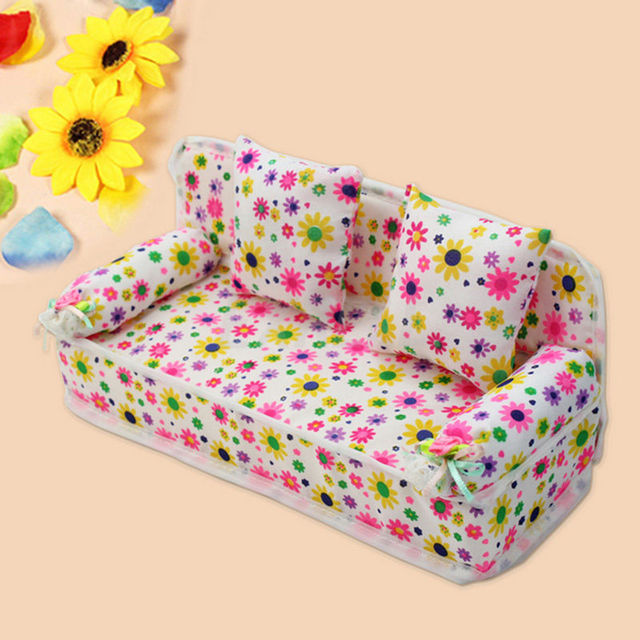 Beauty Mini Furniture Flower Couch For Dolls House Accessories