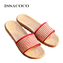 ISSACOCO Shoes Woman Women's Wave Pattern Non-slip Linen Slippers Pantufa Women Beach Slippers Zapatillas Pantufa sx1276 lora 868mhz 100mw smd wireless transceiver cdebyte e32 868t20s 868 mhz ttl long range ipex transmitter and receiver