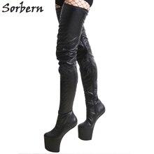 Sorbern Extrême Haute Talon Bottes Femmes Chaussures De Mode Ultra Haute  Plate-Forme Talons Cuissardes 8f2d13b9c357