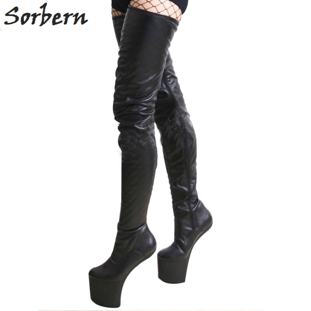 e0c3a4b3f91 US $132.99 7% OFF Sorbern Extreme High Heel Boots Women Fashion Shoes Ultra  High Platform Heels Thigh High Boots Over The Knee Custom Ladies Boots-in  ...