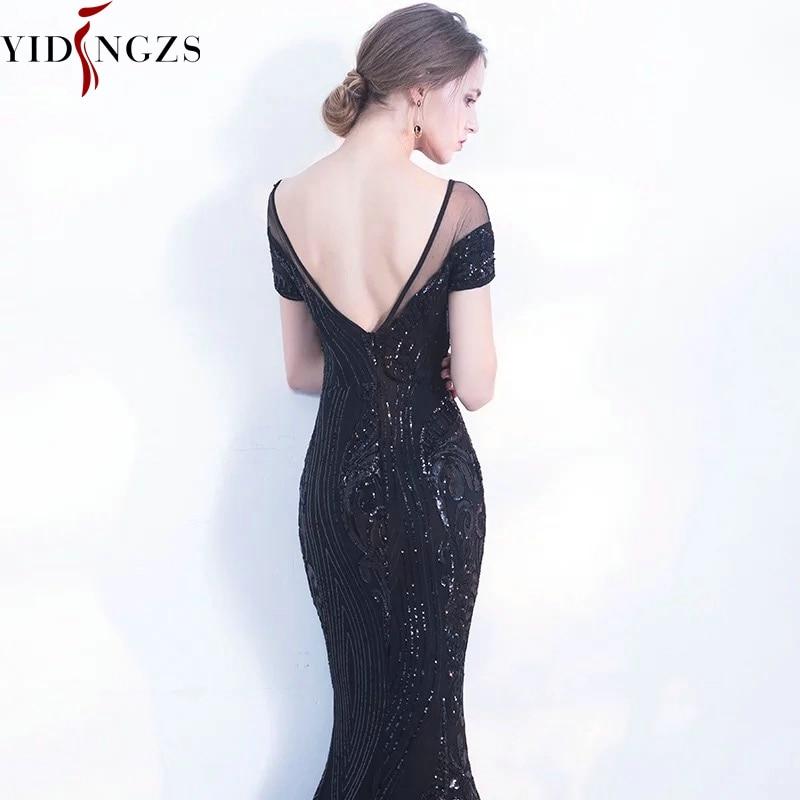 YIDINGZS Elegant Backless Long Evening Dresses Simple Black Sequins Evening Party Dress YD100 1