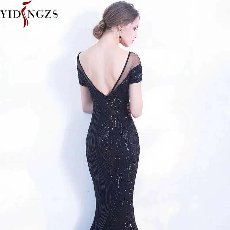 YIDINGZS elegancka bez pleców, długa suknia wieczorowa proste czarne cekiny suknia wieczorowa YD100