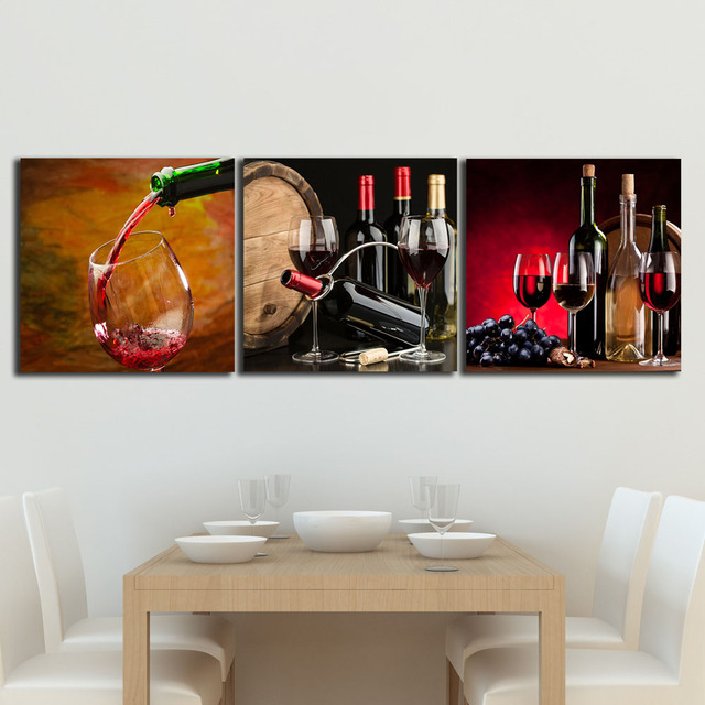 3 Panels Wine Grapes Nuts paintings for the kitchen fruit wall decor ...