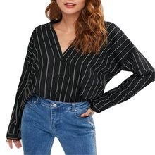 DOUDOULU Women V-Neck Shirts Casual Tops Blouse Long Stripe Sleeve Plus Size Tank Career Bloues T Shirt #WS(China)
