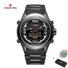 New MIZUMS Men's Sports Watches Quartz Wristwatches Water Resistant Dual Times Army Military Relogio Masculino LED Digital Watch new switzerland binger wristwatch s shock men military army watch water resistant sports watches relogio masculino drop shipping