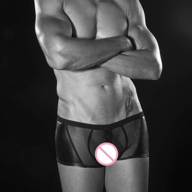 2017 a explosão u homens convexas calças boxer boxers gay underwear boxer seção imitação de couro malha respirável transparente