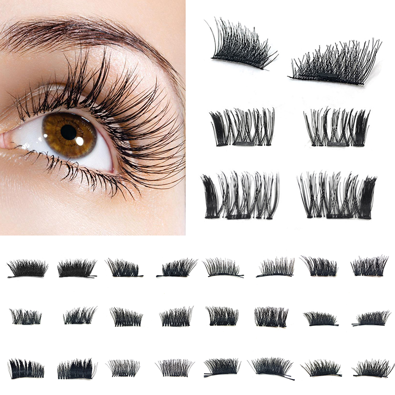 Drop Ship 4pcs =2pair Magnetic Fake False Eyelashes Natural 3D Reusable False Magnet Eyelashes Extension Upper Lower Eyelashes ...