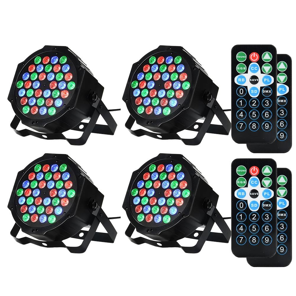 HTB1YOurl0nJ8KJjSszdq6yxuFXaX - SOLLED 4 Packed 36 LED Par Lights RGB Colorful 7 Lighting Modes Stage Lights Flexible Remote Control DMX Control Disco Lights US