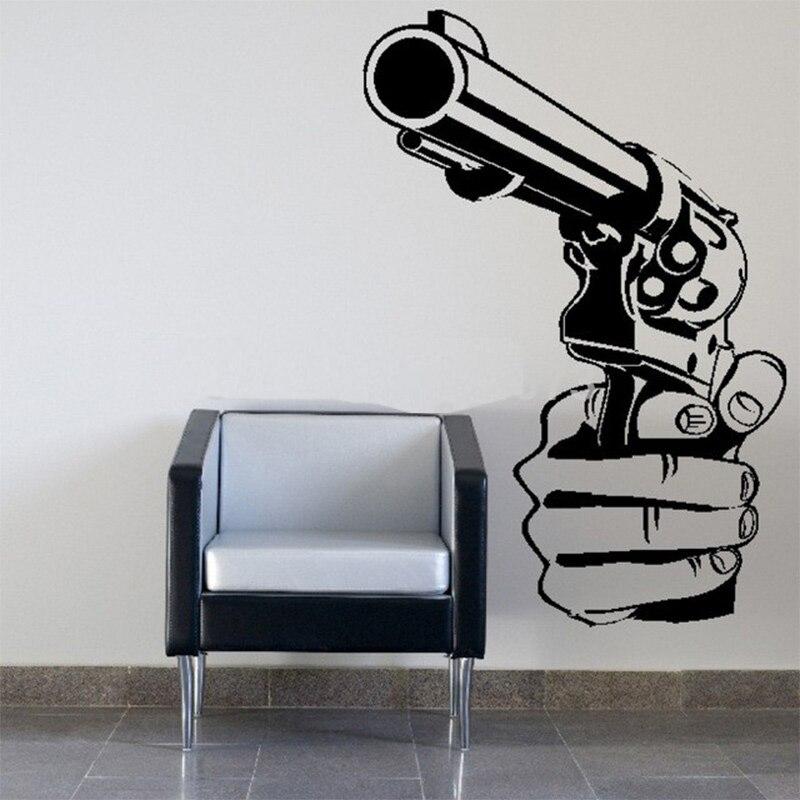 gun shooting wall art sticker decal diy home decoration decor wall