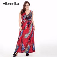 Ailunsnika 2017 Women Summer Beach Bohemian Sleeveless Red Print Maxi Long Dress Plus Size Party Dress