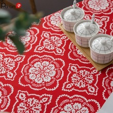 P Joyous Red Tablecloths Rectangular Table Cloth Folk-custom Grilles Tablecloth Active Printing Waterproof  Cover