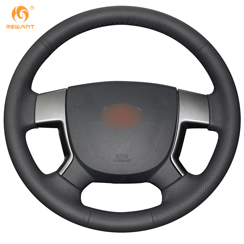 MEWANT Black Genuine Leather Car Steering Wheel Cover for Geely EMGRAND EC7 EC715 EC718 коврик в багажник geely emgrand ec7 rv 2011