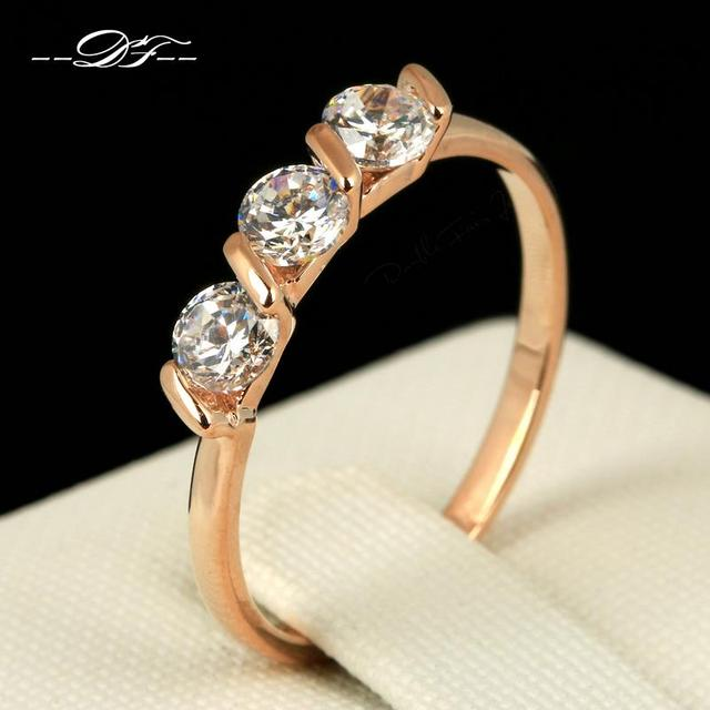 Cubic Zirconia/Cubic Zirconia Engagement Ring Wholesale Rose Gold Color Fashion