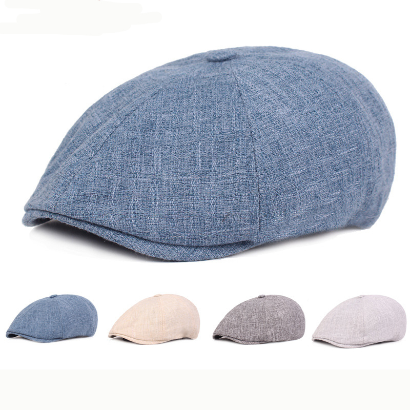 HT2386 Cotton Linen Beret Cap Spring Summer Breathable Men Women Cap Sun Hat Vintage Ivy Newsboy Flat Cap Artist Painter Berets(China)