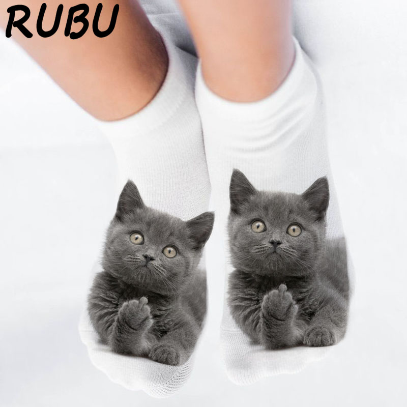 RUBU women's funny <font><b>animal</b></font> Cute 3D Print <font><b>Socks</b></font> Women Ankle <font><b>Socks</b></font> <font><b>Unisex</b></font> <font><b>Socks</b></font> Hot women Fashion Sox cartoon cat for female 5H1 image