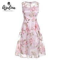 AZULINA Vintage Pink Floral Print Dress Women Retro Sleeveless A Line Midi Organza Dress 2017 Sheer