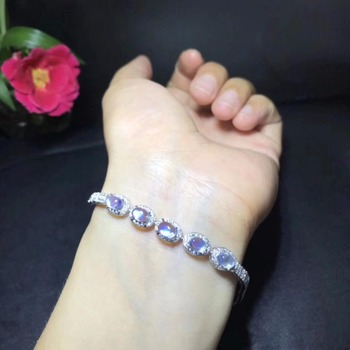 Natural blue moonstone bracelet, simple and exquisite, 925 silver, natural gemstones, beautiful and clean colors
