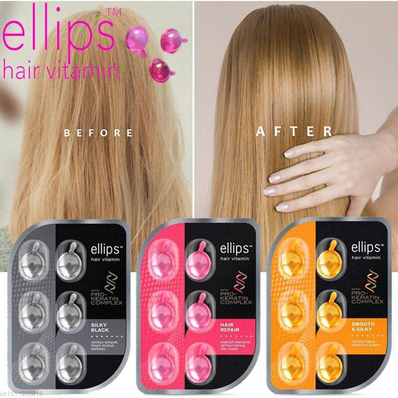 Ellips Hair Vitamin Pro Keratin Complex Oil Smooth Silky Repair Damaged Moroccan Oil Anti Hair Loss Agen Hair Care Essential Oil