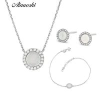 AINUOSHI Pure 18K White Gold Female Diamond Sets Natural White Onyx Round shaped Earring Pendant Necklace Bracelet Jewelry Sets