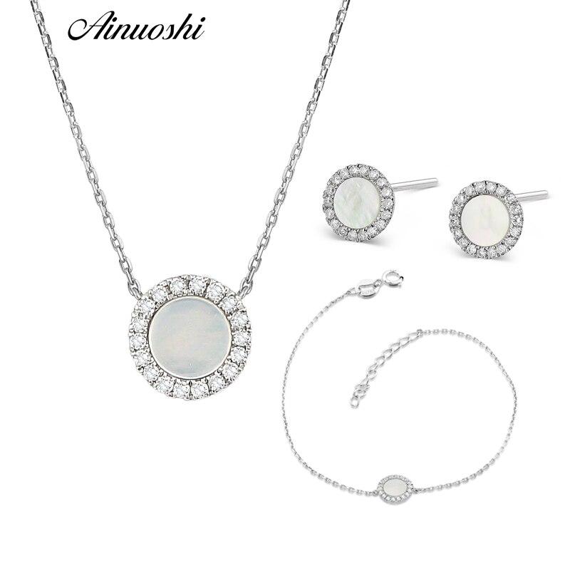 AINUOSHI pur 18 K or blanc femelle diamant ensembles naturel blanc Onyx rond en forme de boucle d'oreille pendentif collier Bracelet ensembles de bijoux