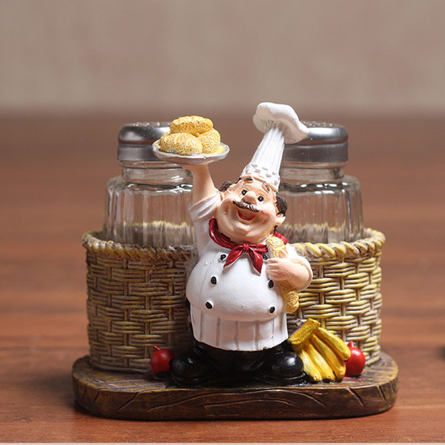 Kitchen Chef Man Pepper Condiment Bottle Model Stand Statue Miniature  Figurine Gifts Home Decoration Accessories TTBD85